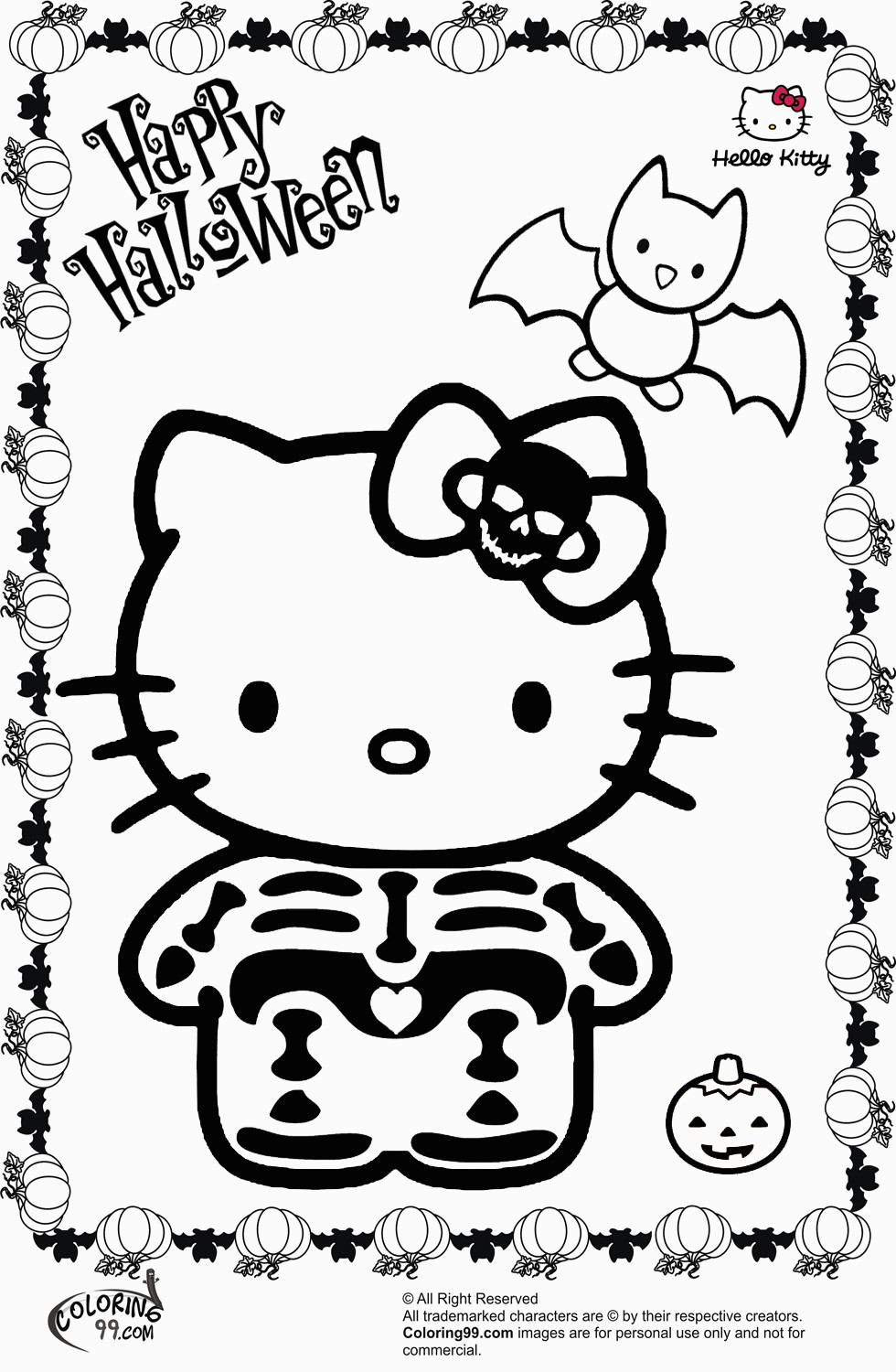 Hello Kitty Halloween Coloriage Hello Kitty Halloween Coloring Pages
