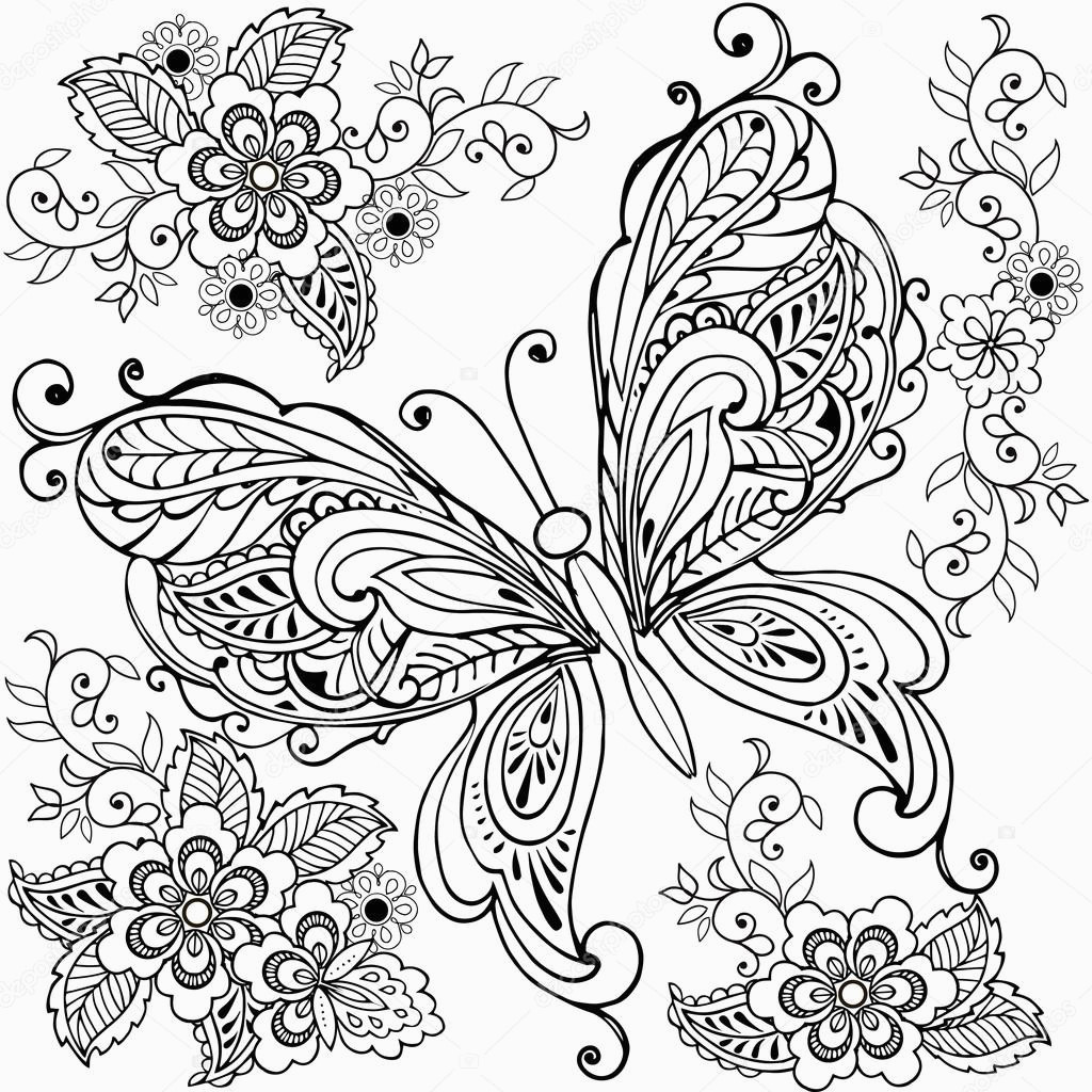 stock illustration hand drawn decorative butterfly with